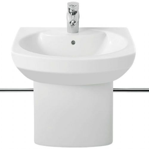 Roca Senso Round Basin With Semi Pedestal - 580mm - 1 Tap Hole - White